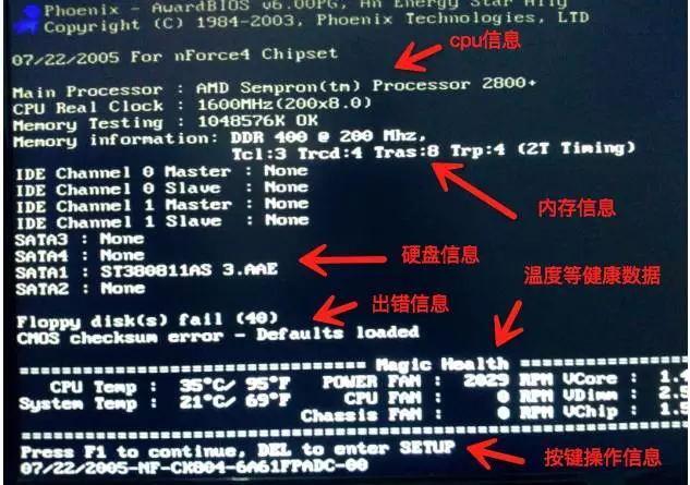 电脑开机画面上显示的内容详解